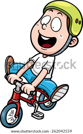 Vector illustration of boy on a bicycle - stock vector