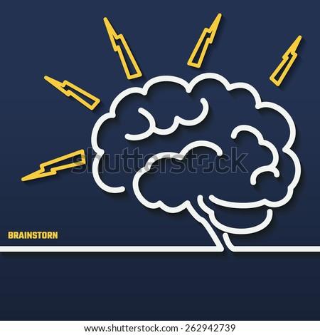 Vector Illustration of Brain Outline Business concept for Design, Website, Background, Banner. Smart Logo Element Template for Marketing Presentation. Brainstorm Idea Silhouette. - stock vector