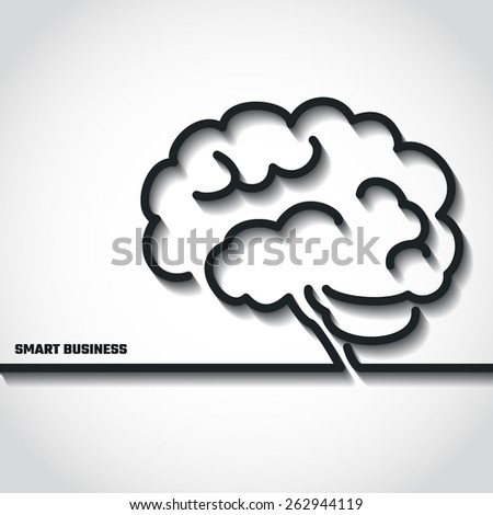 Vector Illustration of Brain Outline Business concept for Design, Website, Background, Banner. Smart Logo Element Template for Marketing Presentation. Brainstorm Idea Silhouette.  - stock vector