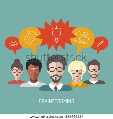 Vector illustration of brainstorming with people and speech bubbles. Vector illustration of business team management in flat style