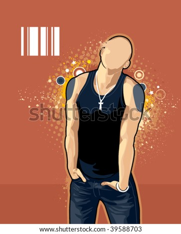 Vector illustration of brawny bald man on abstract graffiti background. - stock vector