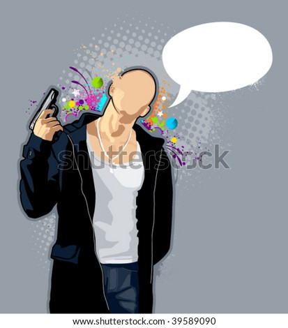Vector illustration of brawny bald man with pistol on abstract graffiti background. - stock vector