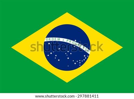 Vector illustration of Brazil flag. Rectangular national flag of Brazil. Brazilian flag - stock vector