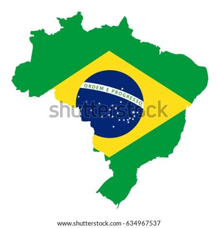 Vector Illustration Brazil Map Flag Stock Vector - Brazil map illustration