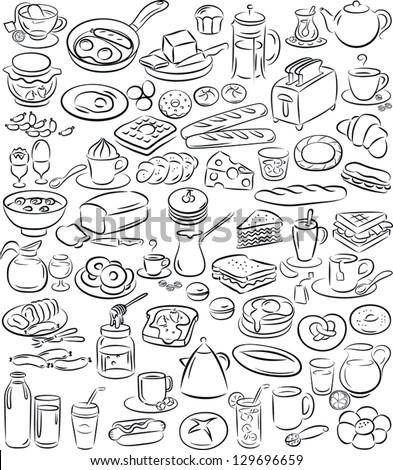 vector illustration of breakfast collection in black and white - stock vector