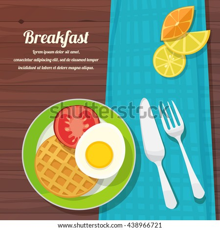 vector illustration of breakfast table with scrambled egg, waffles and fresh vegetables and fruits - stock vector