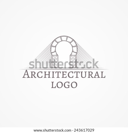 Vector Illustration Of Brick Round Arch Icon With Text Design Element Gray