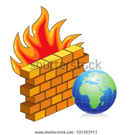 Vector illustration of brick wall on fire - stock vector