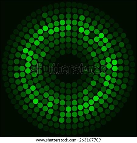 Vector illustration of Bright green ball. Black background - stock vector