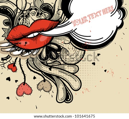 vector illustration of bright red lips and abstract doodles in a vintage style - stock vector