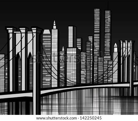 Vector illustration of Brooklyn bridge in New York - stock vector