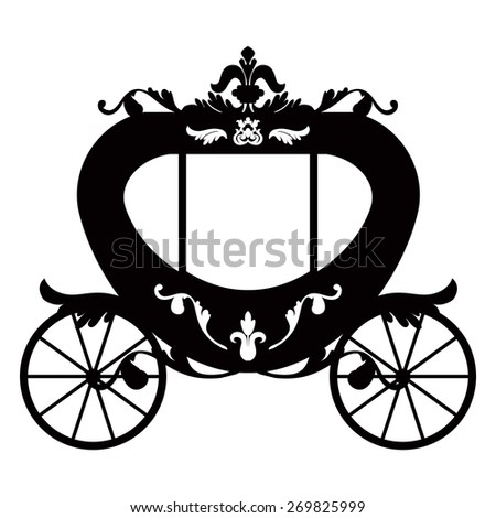 Vector illustration of brougham in baroque style. Vintage carriage isolated on white background - stock vector