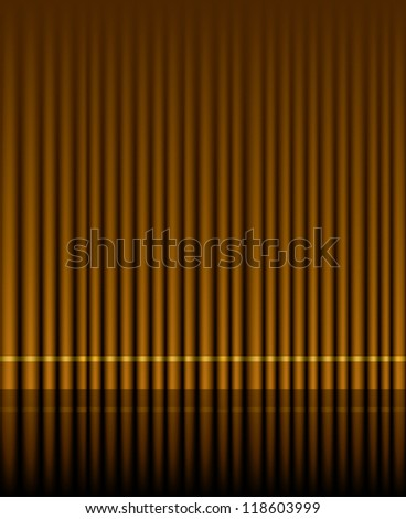 Vector illustration of brown curtain stage. - stock vector