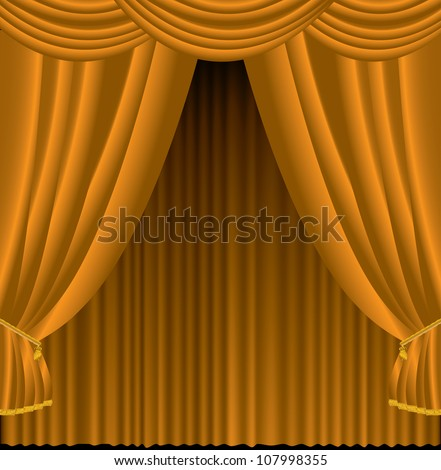 Vector illustration of brown curtains.