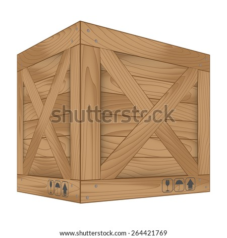 Vector illustration of brown wooden box on white,Vector illustration - stock vector