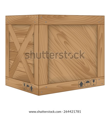 Vector illustration of brown wooden box on white,Vector illustration