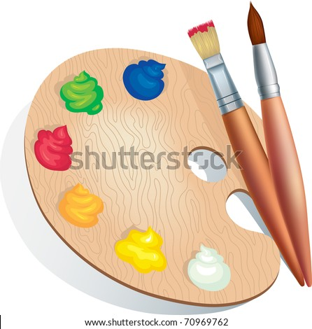 Vector illustration of brushes and a palette of paints