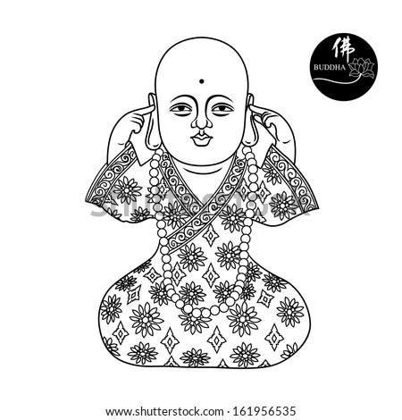 Vector illustration of buddha figure.  - stock vector