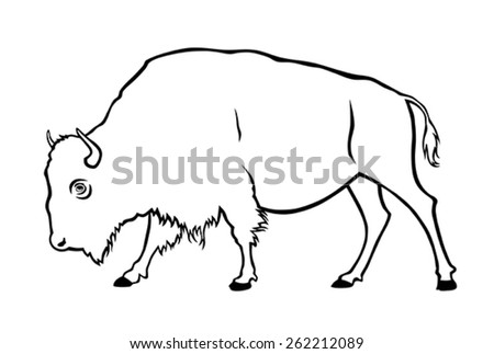 Vector illustration of buffalo in side view - stock vector