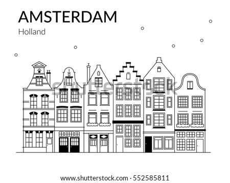 Kleurplaat New Holland Vector Illustration Building Amsterdam Outline Design