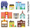 Vector illustration of buildings including store, hotel, hospital, school, police station, church, movie theater, house, and fire station. - stock vector