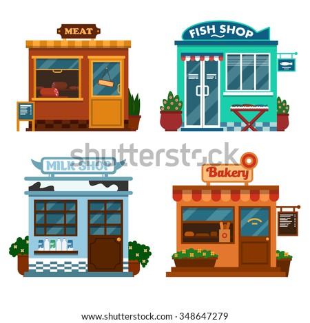 Vector illustration of  buildings that are shops for buying food. Milk meat, fish and bakery shops with flower and bushes - stock vector