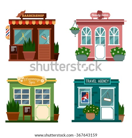 Vector illustration of buildings that are shops for services. Set of nice flat shops. Different Showcases - Beauty salon, Barbershop, massage spa, travel agency for making people travel. - stock vector