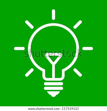 Vector illustration of bulb on green background - stock vector