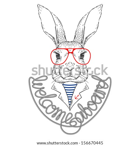 Vector Illustration of Bunny Sailor Isolated on White - stock vector