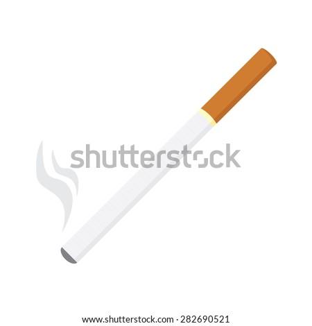 Vector illustration of burning cigarette, tobacco, smoking symbols - stock vector