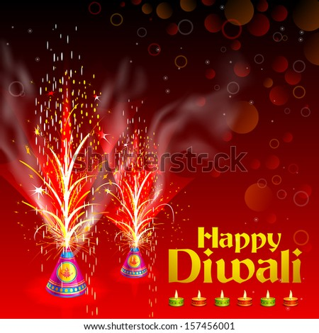 vector illustration of burning firecracker in Happy Diwali - stock vector