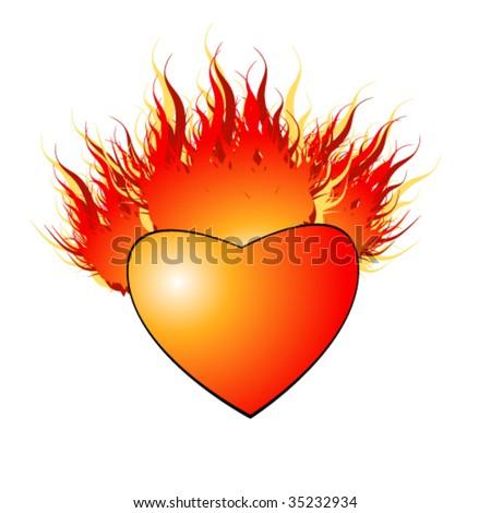 vector illustration of burninging heart - stock vector