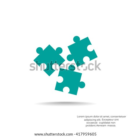 vector illustration of business and finance icon puzzle - stock vector