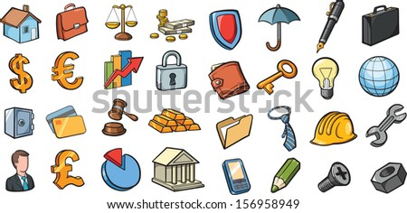 Vector illustration of business and finance icons collection. Easy-edit layered vector EPS10 file scalable to any size without quality loss. High resolution raster JPG file is included. - stock vector