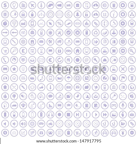Vector illustration of business and other various icons. - stock vector