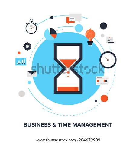 Vector illustration of business and time management flat design concept. - stock vector