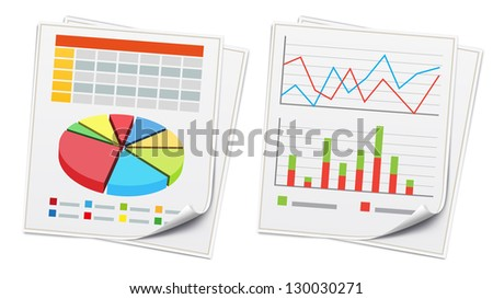 Vector illustration of business concept with finance graphs - stock vector