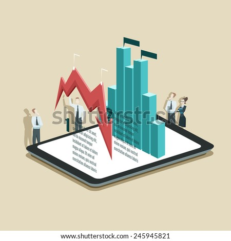 Vector illustration of business infographic concept with businessman and businesswoman who is standing near tablet PC with diagrams - stock vector