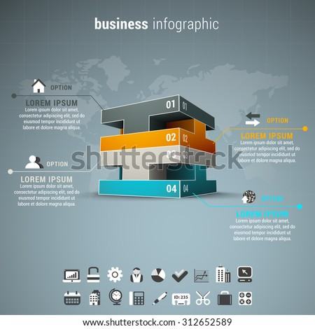 Vector illustration of business infographic made of blocks.