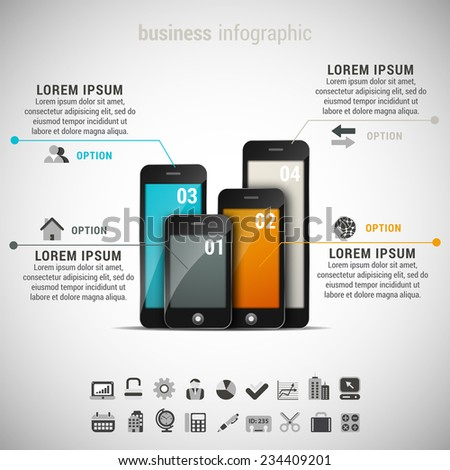Vector illustration of business infographic made of cellphones.