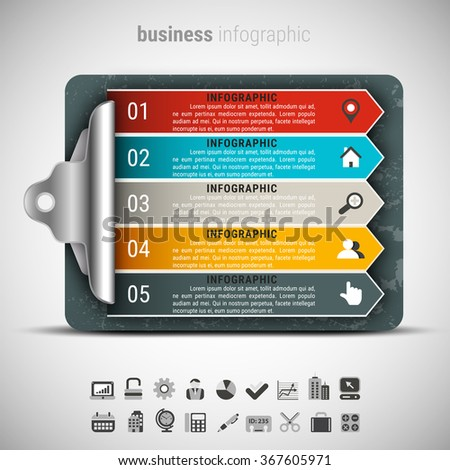 Vector illustration of business infographic made of checklist board. - stock vector