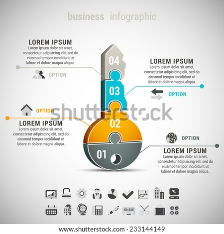 Vector illustration of business infographic with key made of puzzle. - stock vector
