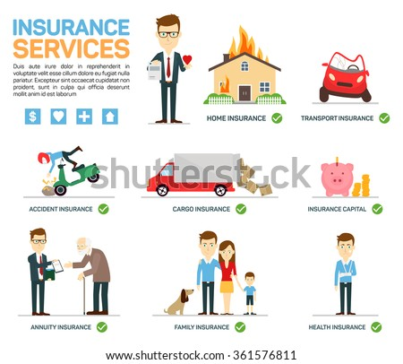 Vector illustration of business insurance character and icons Can be used for workflow layout, banner, diagram, number of options, web design. - stock vector