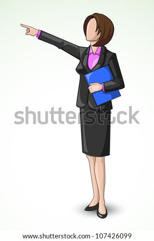 vector illustration of business lady pointing upward - stock vector