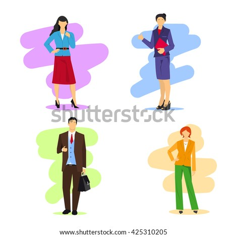 Vector illustration of business man and women isolated. Modern silhouettes in different poses and clothing - stock vector