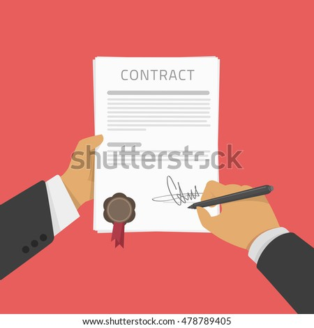 Vector illustration of Business man hand holding contract agreement, signed treaty paper with pen, documentation flat sign modern design isolated on red background. Hand signing of a treaty concept.