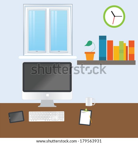 Vector illustration of  business office  - stock vector