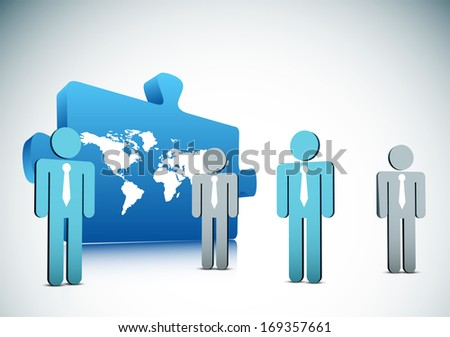 Vector illustration of business people and puzzle.
