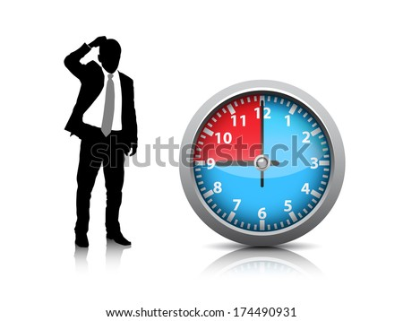 Vector illustration of businessman and clock.