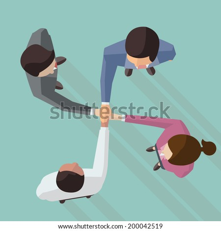 Vector illustration of businessman and woman join hands by touching top of each other, design in flat design with long shadow, view from top view.  - stock vector